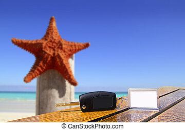 estrellas de mar, llaves, coche, vacaciones, madera, tabla, alquiler