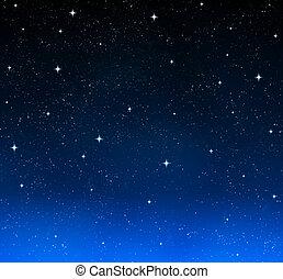 estrellas, en, el, cielo de la noche