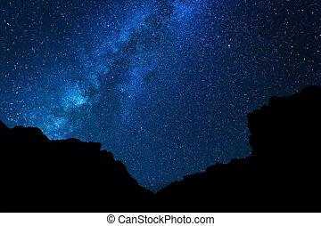 estrellas, en, el, cielo de la noche, vía láctea, galaxia