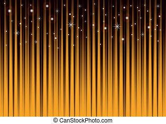 estrellas, en, oro, fondo rayado