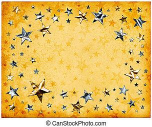 estrellas, en, viejo, papel