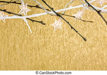 estrellas, luces de navidad, en, fondo dorado