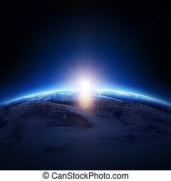 estrellas, nublado, tierra, salida del sol, encima, océano, ...