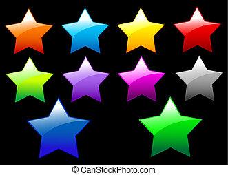 estrellas, simple, brillante, botones