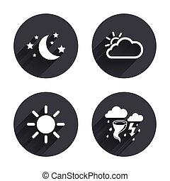 estrellas, sol, símbolo., luna, tormenta, icon., nube