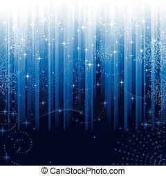 estrellas, y, copos de nieve, en, azul, rayado, fondo., festivo, patrón, grande, para, invierno, o, navidad, themes.