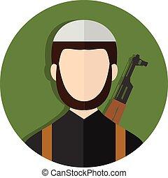 estremista, islamico, kalashnikov, terrorista, fucile