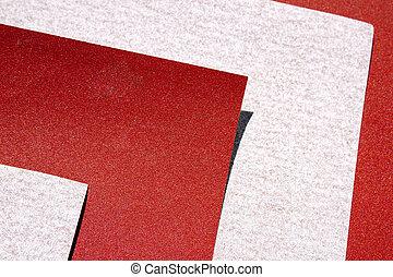 estremo, astratto, closeup, di, fogli, di, rosso, e, grigio, carta vetrata