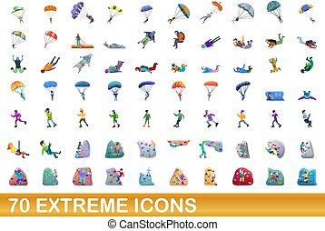 estremo, set, 70, cartone animato, icone, stile