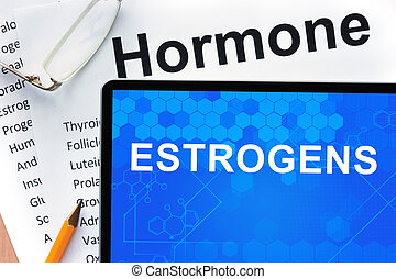 Estrogen - Papers with hormones list and tablet with words...