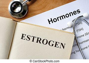Estrogen  word written on the book and hormones list.