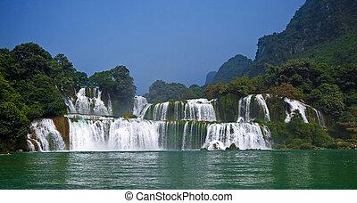 estrondo, -, detian, Cachoeira, cao, gioc, proibição, Vietnã...