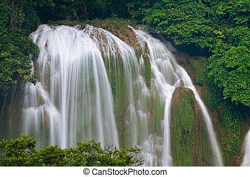 estrondo,  -,  detian, Cachoeira,  cao,  gioc, proibição, Vietnã
