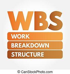 estructura, -, avería, siglas, trabajo, wbs