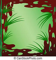 estructura de madera, bambú, ramas, verde