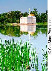 estructura, dorado, parque, lago, techo