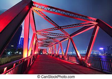 estructura, noche, primer plano, paisaje, acero, puente