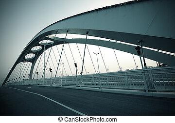 estructura, noche, puente, acero, escena