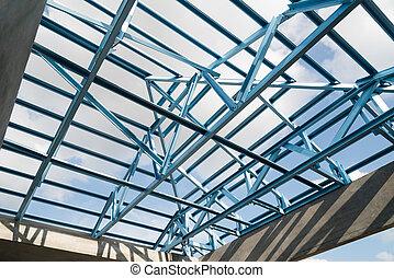 estructura, roof., acero
