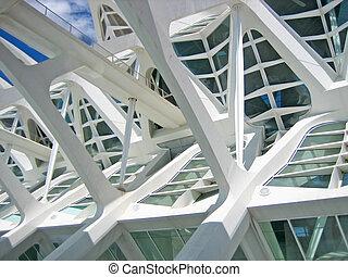 estructural, detalles, de, un, arquitectura contemporánea