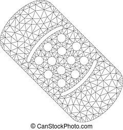 estructurametálica, malla, vector, bandaid, modelo