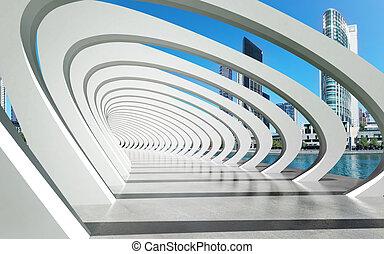 estrutura, futurista, exterior, sob, rio, arcos