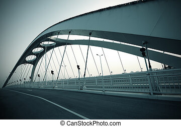 estrutura, noturna, ponte, aço, cena