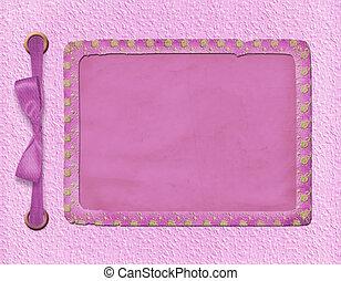 estrutura, para, um, foto, ou, invitations., um, cor-de-rosa, bow., um, bonito, experiência.