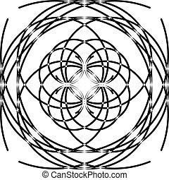 estrutura, roda, disco, quadro, laço, arco, relógio, spining, voando, pretas