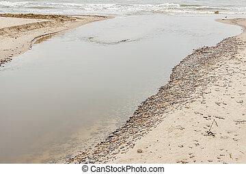 estuário, -, poland., mar, báltico, rio
