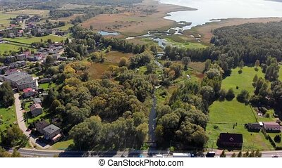 Estuary Among The Woods - Drone - Aerial view of a nature ...