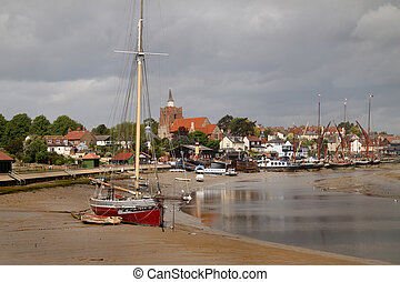The estuary harbour and town of Maldon in Essex England.