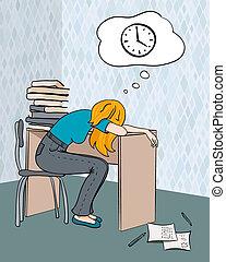 estudante, cansadas