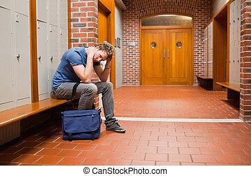 estudante, cansadas, sentando