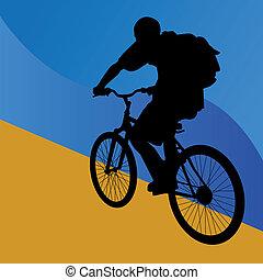 estudante, cavaleiro bicicleta