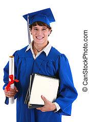 estudante, certificado, jovem, graduação, faculdade, segurando, macho, feliz