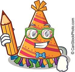estudante, chapéu, partido, caricatura