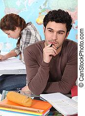 estudante, classe, trabalhando