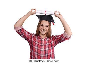 estudante, com, diploma, e, boné graduação