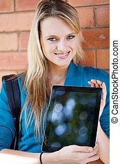 estudante, computador, faculdade, apresentando, tabuleta