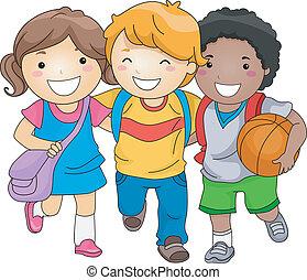 estudante, crianças, amigos