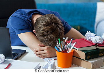 estudante, dormir, ligado, seu, notas