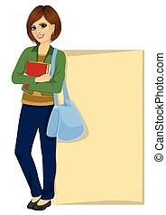 estudante, em branco, tábua, contra, inclinar-se