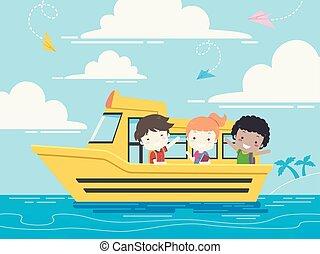 estudante, escola brinca, bote, ilustração