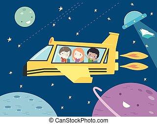 estudante, escola brinca, nave espacial, ilustração