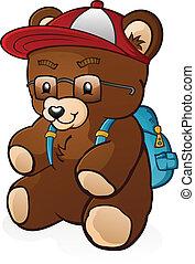 estudante, escola, caricatura, urso, pelúcia
