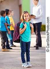 estudante escola primária, carregar, mochila
