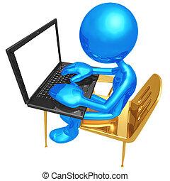 estudante, escrivaninha, com, laptop