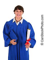 estudante, faculdade, segurando, certificado, graduado