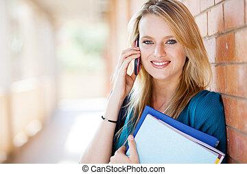 estudante, falando, telefone pilha, faculdade, atraente, femininas